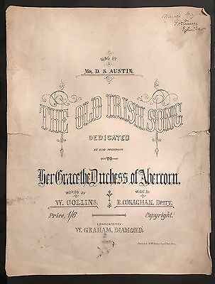 The Old Irish Song Mr D S Austin Londonderry E Conaghan Derry Sheet Music 1900's