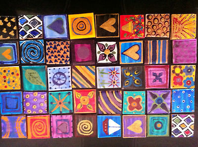 16 Funky Hand Painted Mosaic Tiles Various Designs & Colours For Art & Craft
