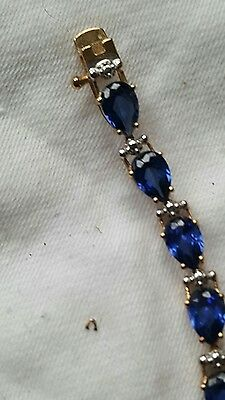 Gold on Silver created sapphire Bracelet.Marked 925. Excellent condition