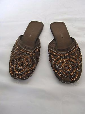 Ladies Brown Sequin Slip On Shoes Size 6