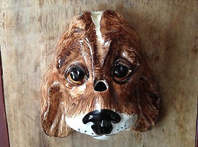 Babbacombe Pottery Dogs Head, Wall Hanging, Philip Laureston, Hand Decorated