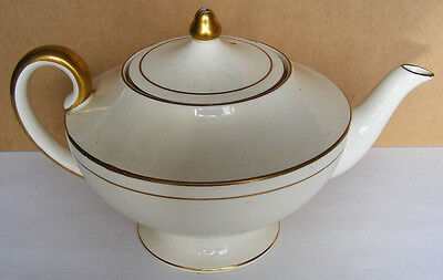 CAULDON ENGLAND - Exquisite Victorian/Edwardian Teapot - White and Gold Pattern