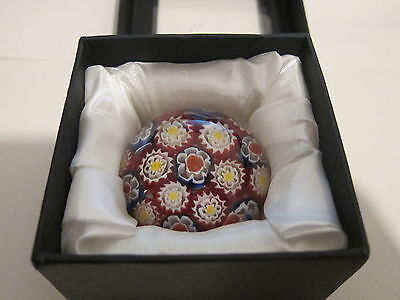 Royal Crest? Glass Paperweight Boxed Red White Yellow Blue Millefiori