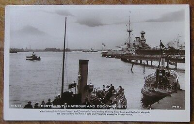 (R.p.) Portsmouth Harbour And Dockyard Jetty. Battleship. Early Postcard