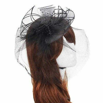 Fascinator Sinamay Black Hat Wedding Races Party - Headband Or Clip - Brand New