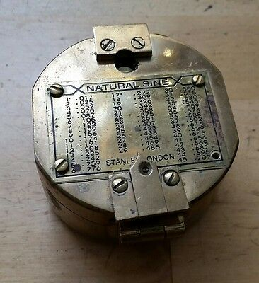 Made in England Brass Naval Compass with Natural Sine Chart