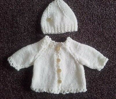 BABY BORN DOLL Hand Knitted Cardigan and hat outfit 16-18in doll
