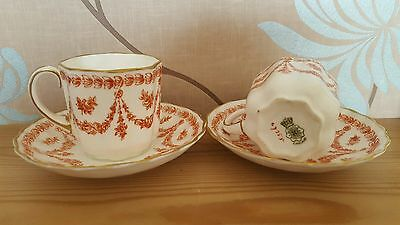 Doulton Burslem Red Swags Cups & Saucers