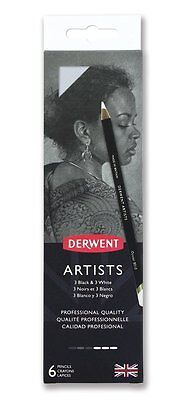 Derwent Artists Pencils 6 Tin - Professional Quality Black & White Colours NEW