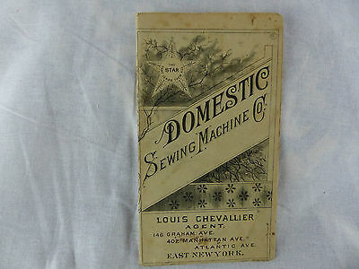old advertising brochure domestic sewing machine co louis chevallier east ny