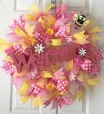 """27"""" WELCOME Daisy SUMMER ~Spring ~ Easter~ BUMBLE BEE Deco Mesh RUFFLE Wreath"""