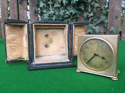 Art Deco Cased Zenith Gilt Travel Alarm Clock, 1930's Swiss Made, Working