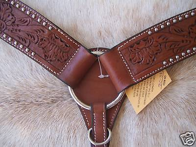 Floral Tooled Western Leather Breast Collar Silver Dots Quality Horse Tack