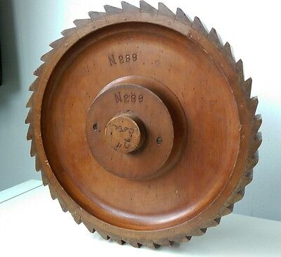 Vintage wooden gear foundry mould, display or decoration