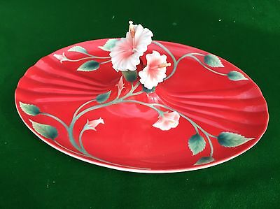Franz Porcelain 'Island Beauty' Hibiscus Table Centre Piece Tray Stunning