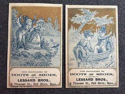 Victorian Litho Lithograph Trade Cards Lessard Bros. Boots And Shoes Store Ad