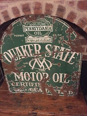 Vintage QUAKER STATE Tombstone Double Sided PORCELAIN Gas Station Sign Pump