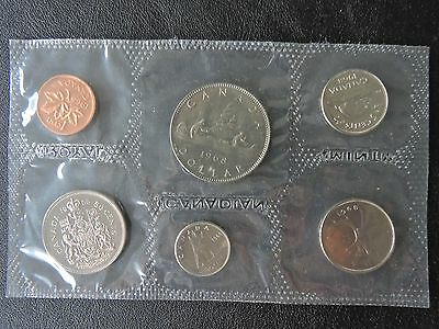 1968 Royal Canadian Mint Prooflike Set Dollar to Penny, Card and Envelope