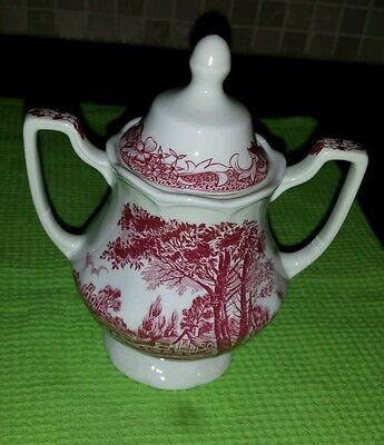 J & G Meakin Romantic England Ironstone Sugar Bowl with Lid. Immaculate.