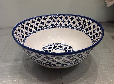 Large Moroccan Style Blue And White China Bowl
