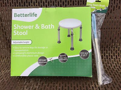 Betterlife Shower & Bath Stool Adjustable Height With Long Reach Brush