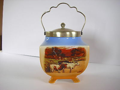 Lancaster Sandland  Staffordshire Footed  Biscuit Barrel