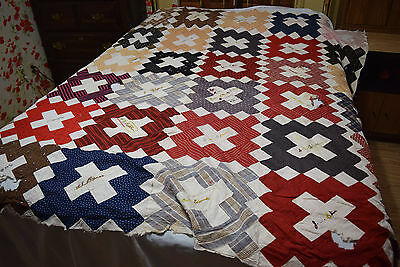 Cross Patch - Church Album - Quilt Top - M P Church 86 x 87 Damage