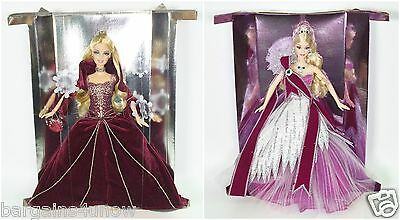 Set Of 2 Barbies 2004 Holiday Barbie Burgundy Gown 2005 Holiday Barbie New