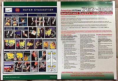 AMERICAN AIRLINES 767-300 safety card