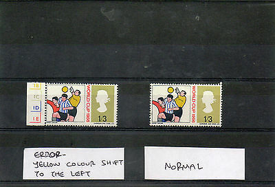 G.B. stamp, Word Cup 1966, 1/3, ERROR, yellow shift to left,MNH.