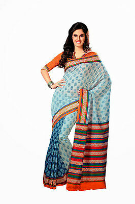 Bollywood Saree Party Wear Indian Designer Ethnic Pakistani Blue Silk Sari
