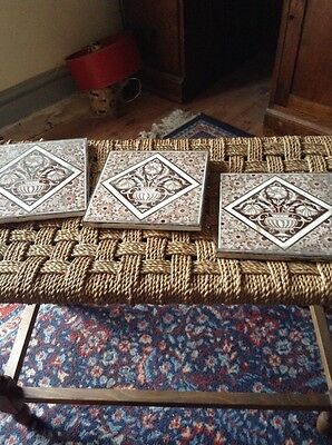 3 x brown and cream vintage antique tiles