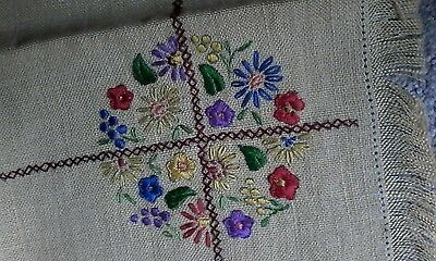 Antique linen needlework tapestry placemats 2 finished 2 halfdone & 4 drink mats