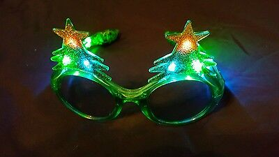 LED Light Up Flashing Christmas Tree Glitter Glasses Shades Party Holiday Fun