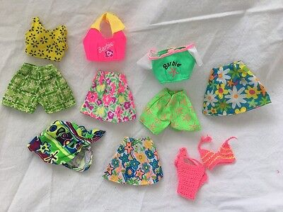 Genuine Barbie PINK Tagged Doll FLORAL BEACH Shorts Skirts Tops Bikini Lot #8