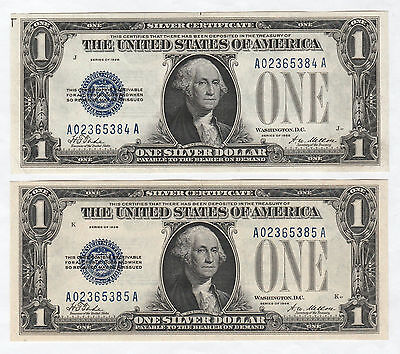 Quality Pair of Consecutive 1928 $1 Silver Certificates--Funnyback, Ships Free