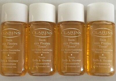 4 x Clarins 10ml Tonic Bath & Shower Concentrate With Essential Oils