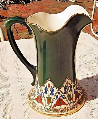 "RARE ANTIQUE 1890's D. F. HAYNES WARE KHORASSAN PATTERN W/ GOLD TRIM 9"" PITCHER"