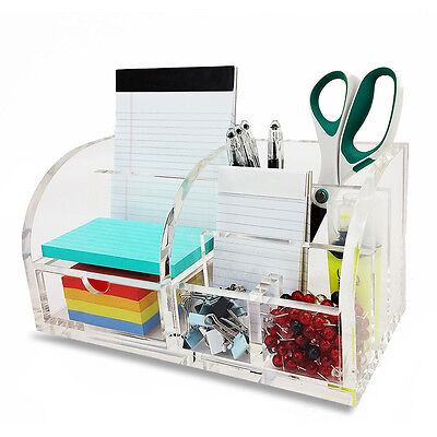 New! Deluxe Desktop Organizer - Clear Acrylic Paper/notepad/pencil/pen Holder