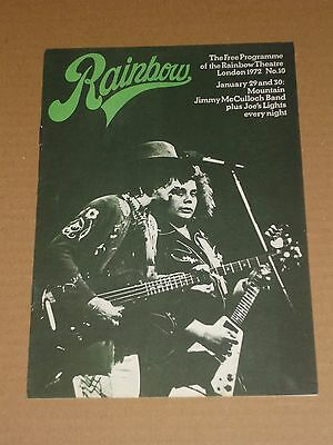 Mountain/Jimmy McCulloch Band 1972 Rainbow Theatre Programme