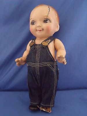 """Vintage Buddy Lee Doll 13"""" Composition Lee Overalls TLC needed"""