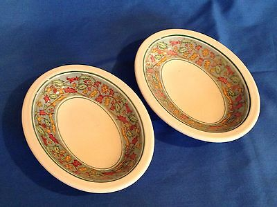 2 Vintage Buffalo China Ivory Kniffin & Demarest Oval Sauce Dishes 1940