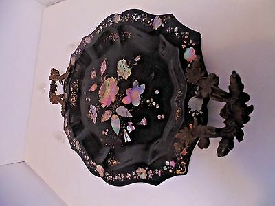 Antique Paper Mache Mother Of Pearl Tray With Ornate Handles