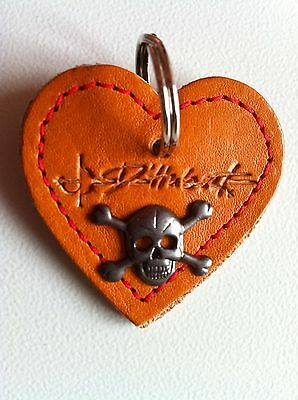 Skull Love Heart Leather KeyRing Dog Tag Fob [HUMan ONLY not pets}