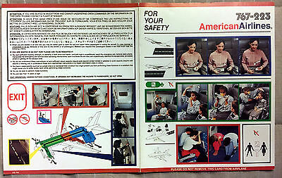 AMERICAN AIRLINES 767-200 safety card