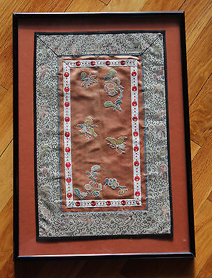 Chinese Silk Embroidery Floral Textile Panel Tapestry Conservation Framed