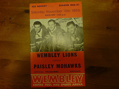 Wembley Lions V Paisley Mohawks   Ice Hockey Southern Cup  19/11/66
