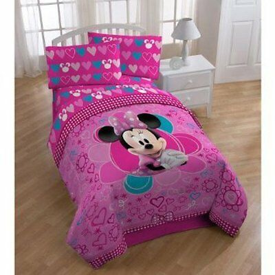 Minnie Mouse Disney Sheet Sets Kids Full Size Bedding for Girls 4Pcs Microfiber