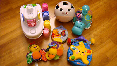 Miscellaneous Lot Of Infant Baby Toddler Toys Boat w/ Blocks Shape Toys Rattles