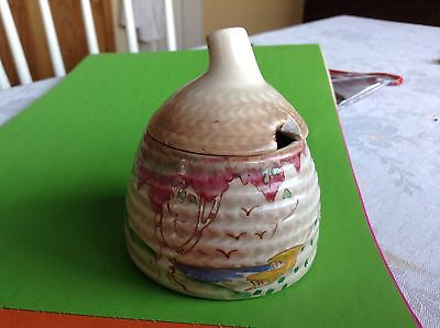 Clarice Cliff Rare Taormina Honey Pot with Lid - Art Deco - Bee Hive shaped
